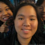 Me on the bus, flanked by Norinne and Naomi