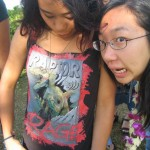 Norinne's crazy shirt and Connie making a face (we were getting bored in line)