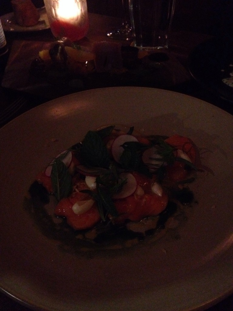 You can't really see it in the dark, but this salmon was beautifully plated AND delicious