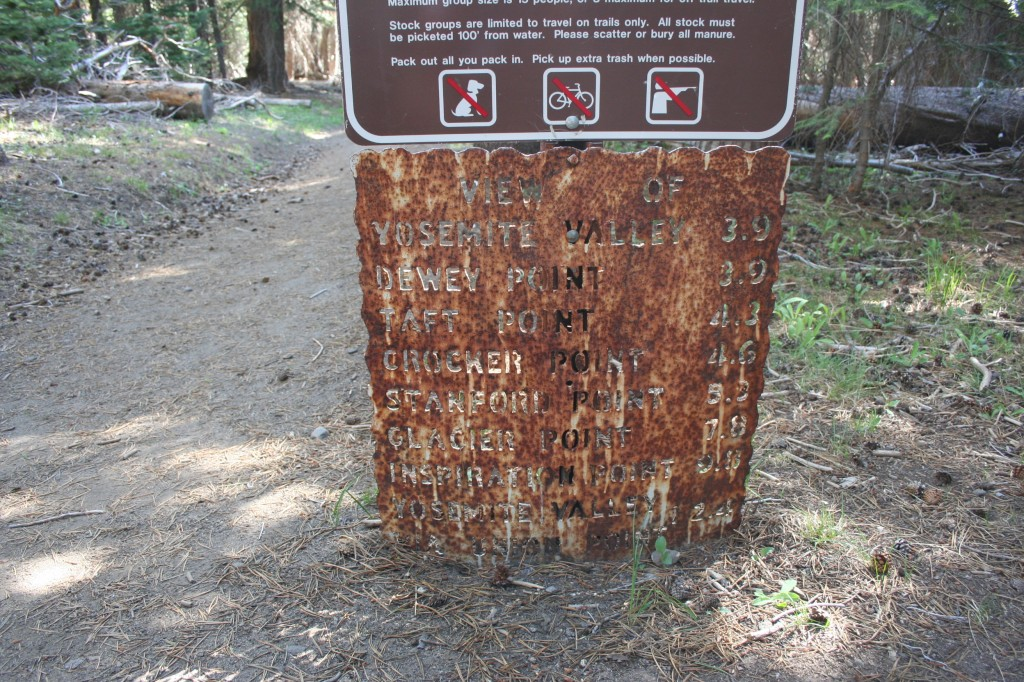 Weathered old sign at the trailhead. Note 5.3 miles to Stanford Point!