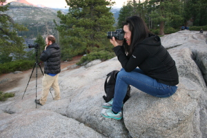 Melissa photographing the sunset at Glacier Point