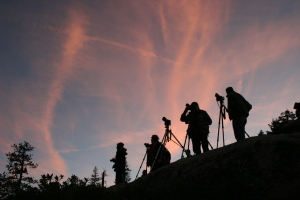 Photographers in the dusk